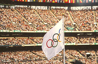 Atlanta - The Olympic flag waves at the 1996 games.