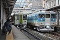 JRE Kiha 110 + Shinano Railway 115 series at Nagano Station (32606939607).jpg