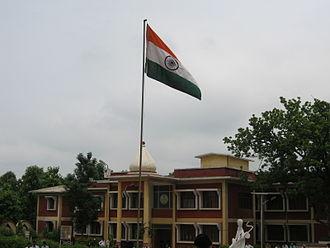 Jagadguru Rambhadracharya Handicapped University - The main building of Jagadguru Rambhadracharya Handicapped University on 14 August 2010 with the Indian national flag hoisted