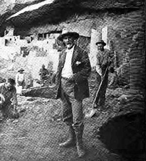 Jesse Walter Fewkes - J. Walter Fewkes at Mesa Verde cliff dwellings circa 1910