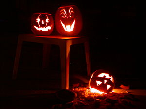 Three Halloween jack-o'-lanterns.