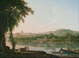 A distant view of Rome across the Tiber