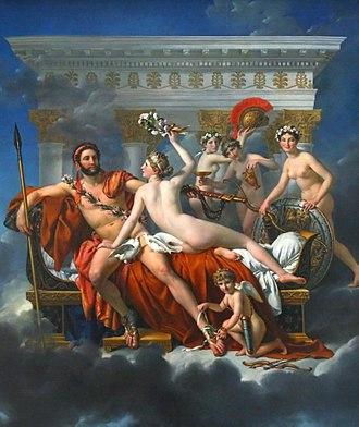 Mars Being Disarmed by Venus - Image: Jacques Louis David Mars desarme par Venus