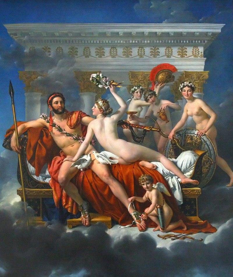 Tableau qui montre le dieu Mars et Venus assise à ses côtés. avec Cupidon et trois graces. Sur le fond un temple grec.