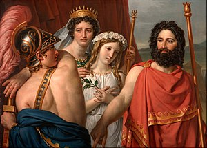 The Anger of Achilles - From right to left: Achilles, Clytemnestra, Iphigenia, and Agamemnon.