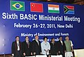 Jairam Ramesh with the Ministers of BASIC (Brazil, South Africa, India and China), at the Sixth BASIC Ministerial meeting of Environment Ministers, in New Delhi on February 27, 2011.jpg