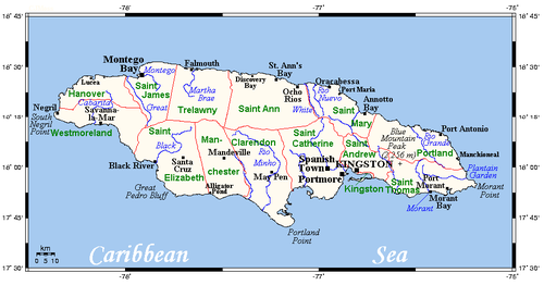Geography Of Jamaica Wikipedia - Jamaica map caribbean sea