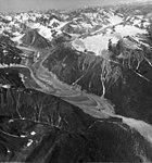 Jarvis Glacier, valley glacier terminus covered in rocks, August 16, 1961 (GLACIERS 5228).jpg