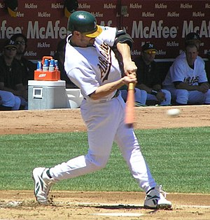 Jason Kendall - Kendall batting for the A's.