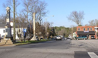 Jefferson, Georgia - View towards the east side of the square showing the Confederate Memorial and the highway leading to Commerce, Georgia.
