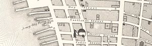Cortlandt Street Ferry Depot - A map showing the Jersey City Ferry's terminal at Cortlandt Street, 1857