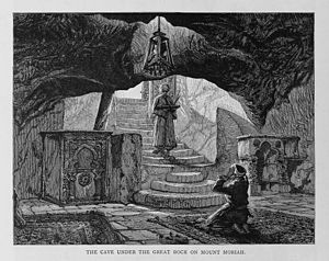 """Well of Souls - """"The Cave Under the Great Rock on Mount Moriah"""" — known as the Well of Souls. (Illustration from Stanley Lane-Poole's Picturesque Palestine, Sinai and Egypt, 1883.)"""