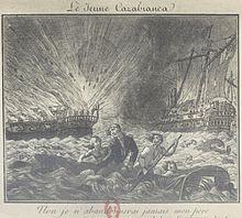 Gravure allégorique représentant la mort de Casabianca et de son fils