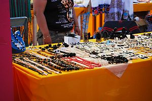 Table with handcrafted jewelry for sale at the...