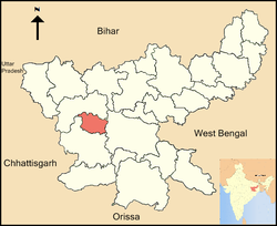 Location of Lohardaga district in Jharkhand