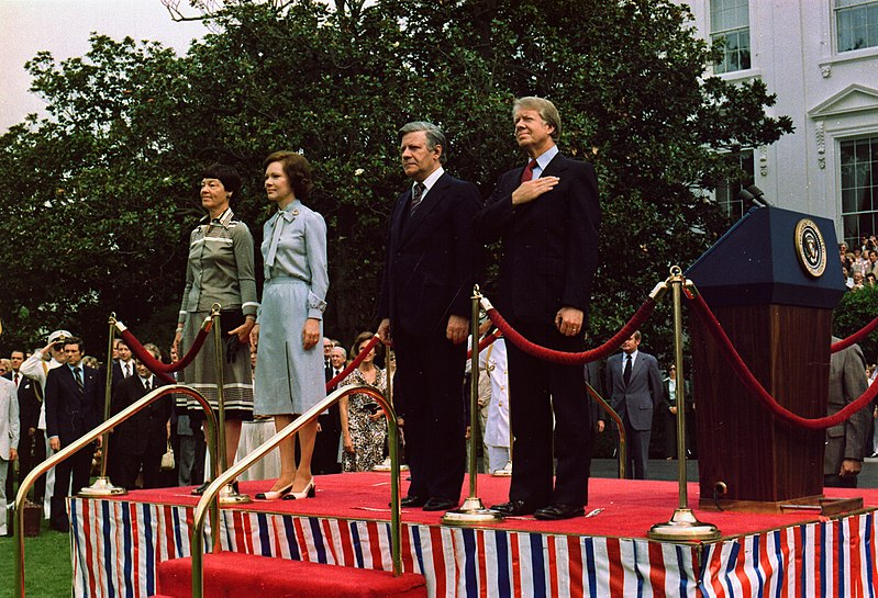 File:Jimmy Carter and Rosalynn Carter host arrival ceremony for German Chancellor Helmut Schmidt and Mrs. Helmut Schmidt. - NARA - 175448.jpg