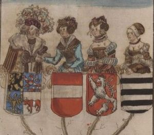 Henry III, Margrave of Meissen - Henry and his three wives, from George Spalatin's Saxon chronicles, about 1520
