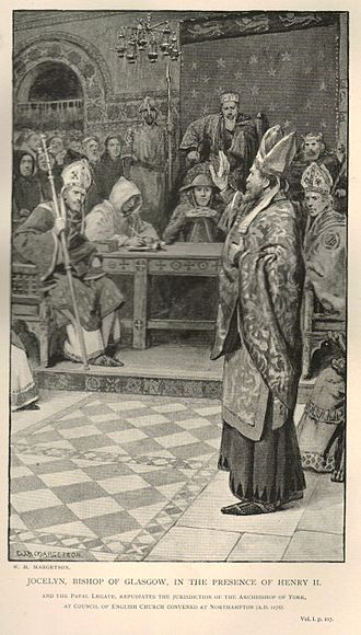 Jocelin of Glasgow - A 19th-century artist's depiction of Jocelin's confrontation with the Archbishop of York in the presence of King Henry II at Northampton