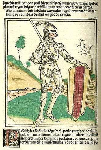 John Hunyadi - John Hunyadi on a hand-colored woodcut in Johannes de Thurocz's Chronica Hungarorum (Brno, 1488)