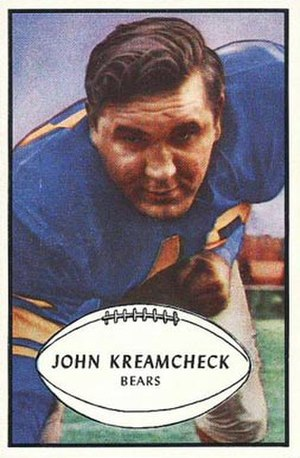 John Kreamcheck - Kreamcheck on a 1953 Bowman football card