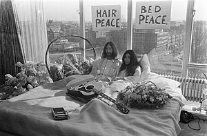 John Lennon And Yoko Ono At The First Day Of Their Amsterdam Bed In