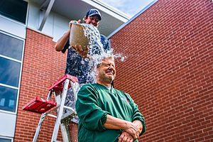 Ice Bucket Challenge - Green Bay local radio and TV personality John Maino performs the ALS Ice Bucket Challenge