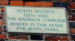 Photo of John Wilbye stone plaque