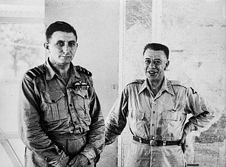 South West Pacific Area (command) - Royal Australian Air Force chief, Air Vice Marshal George Jones  (left) meeting the Allied air forces commander in the SWPA, Lieutenant General George Kenney (right) in mid-1945, in Manila.
