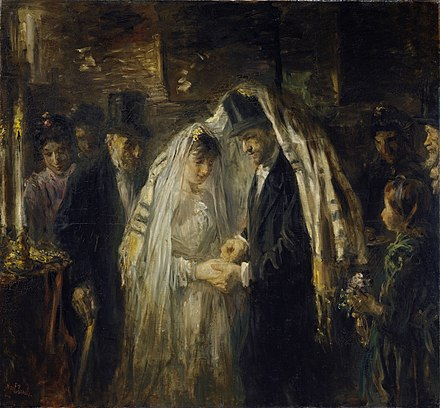 A Jewish wedding, painting by Jozef Israels, 1903 Joodse bruiloft Rijksmuseum SK-A-2598.jpeg