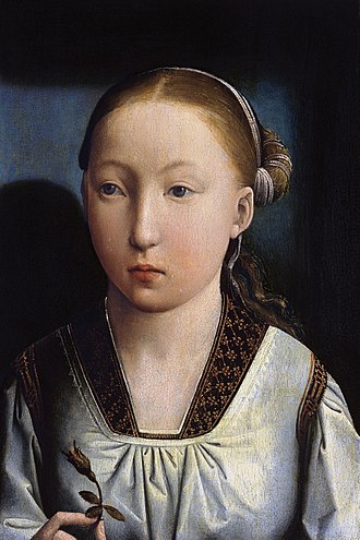 Portrait by Juan de Flandes thought to be of 11-year-old Catherine. She resembles her sister Joanna of Castile. Juan de Flandes 002.jpg