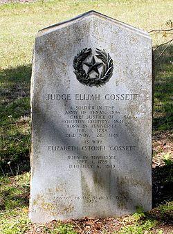 Photo of Elizabeth Stone Edwards and Elijah Gossett black plaque