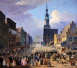Juliusz Knorr - Widok Starego Rynku w Poznaniu w 1838 roku.jpg