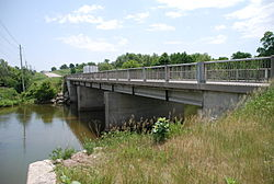 A bridge crossing the Conestogo River in Wellesley.