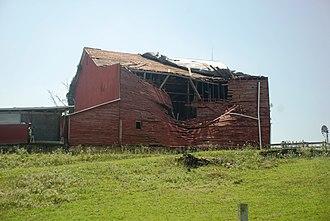 Derecho - Barn in Mount Solon, Virginia destroyed by June 2012 North American derecho