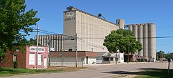 Downtown Juniata and grain elevators