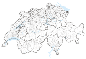 Municipalities of Switzerland - Map of Switzerland showing cantonal, districts and municipal boundaries (2015).