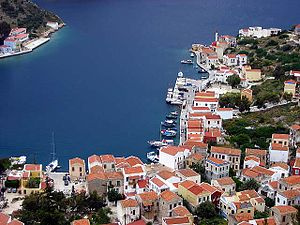 Kastellorizo - Panorama of the port.