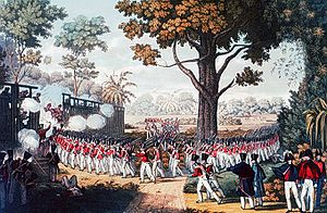 First Anglo-Burmese War - The Storming of the Lesser Stockade at Kemmendine near Rangoon on 10 June 1824