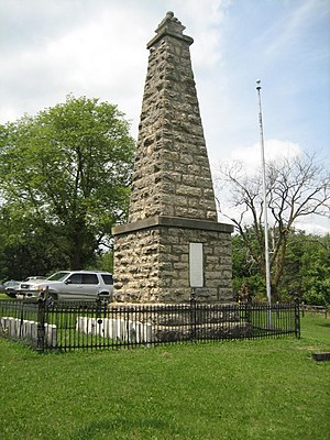 Kellogg's Grove - The monument and cemetery at Blackhawk Battlefield Park.