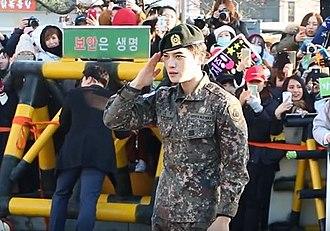 Kim Jae-joong - Kim returning from his military service