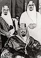 King Abdulaziz with Prince Faisal and Prince Saud.jpg