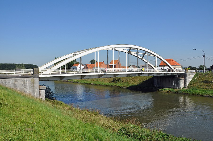 Knesselare (province of East Flanders, Belgium): the bridge on the Bruges-Ghent canal