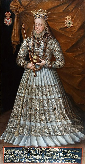 Anna Jagiellon - Queen Anna in her coronation robes (1576 painting by Martin Kober)
