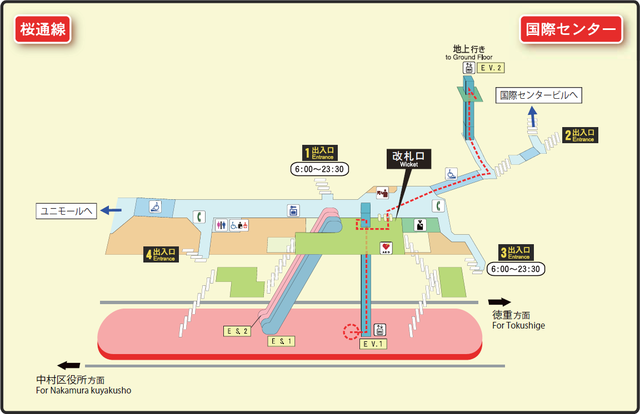 Kokusai Center station map Nagoya subway's Sakura-dori line 2014.png