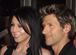 Gene Thomas samen met zijn echtgenote Kristel Verbeke tijdens de uitreiking van de anne awards 2012