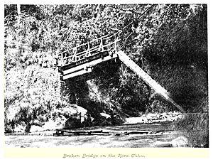 Roro Chu - A damaged Roro-Chu-Bridge, 1894
