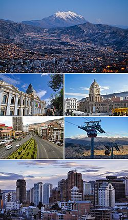 Tap tae Bottom, Left tae Richt: La Paz Skyline wi Moont Illimani in the backgrund, Pailace o the Plurinational Legislative Assemmly, San Francisco Kirk, Mariscal Santa Cruz Avenue, Reid Line o the La Paz-El Alto cauble caur transit seestem, Ceety centre o La Paz.