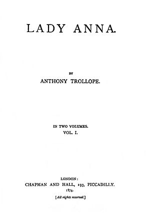Lady Anna (novel) - First edition title page