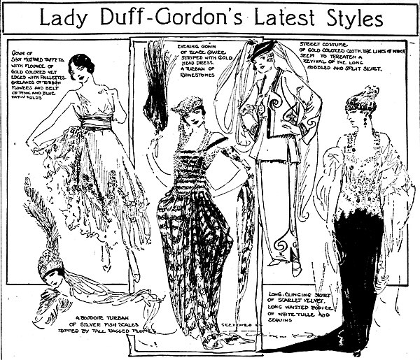 Styles of Lucy, Lady Duff-Gordon, as presented in a vaudeville circuit pantomime and sketched by Marguerite Martyn of the St. Louis Post-Dispatch in April 1918 Lady Duff Gordon styles sketched by Marguerite Martyn, 1918.jpg