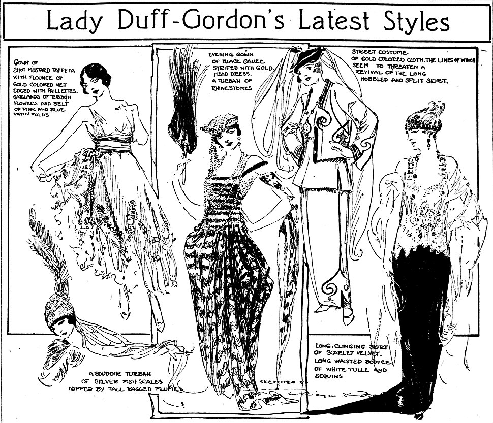 Lady Duff Gordon styles sketched by Marguerite Martyn, 1918